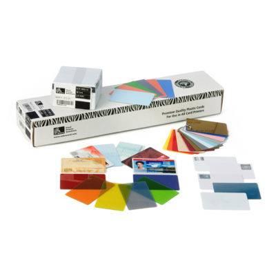 Zebra Card, White PVC, 30 Mil, Retransfer-Ready, 500 cards per BOX, used with ZXP Series 8 printers runnin