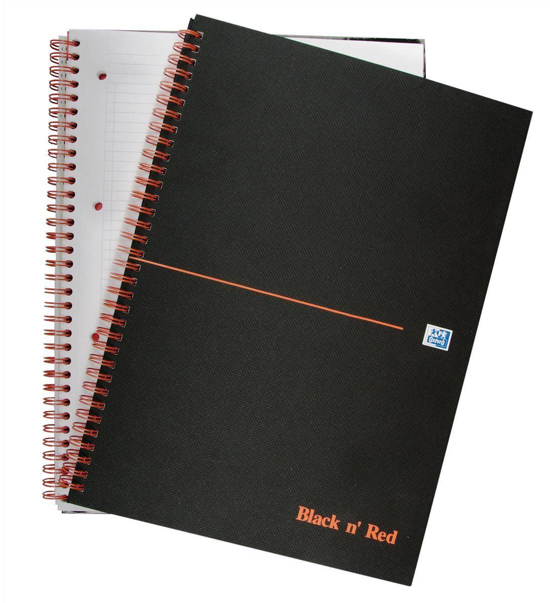 Black n' Red Book Wirebound Ruled and Perforated 90gsm 140pp A4 Matt Black Ref 100080173 [Pack 5]