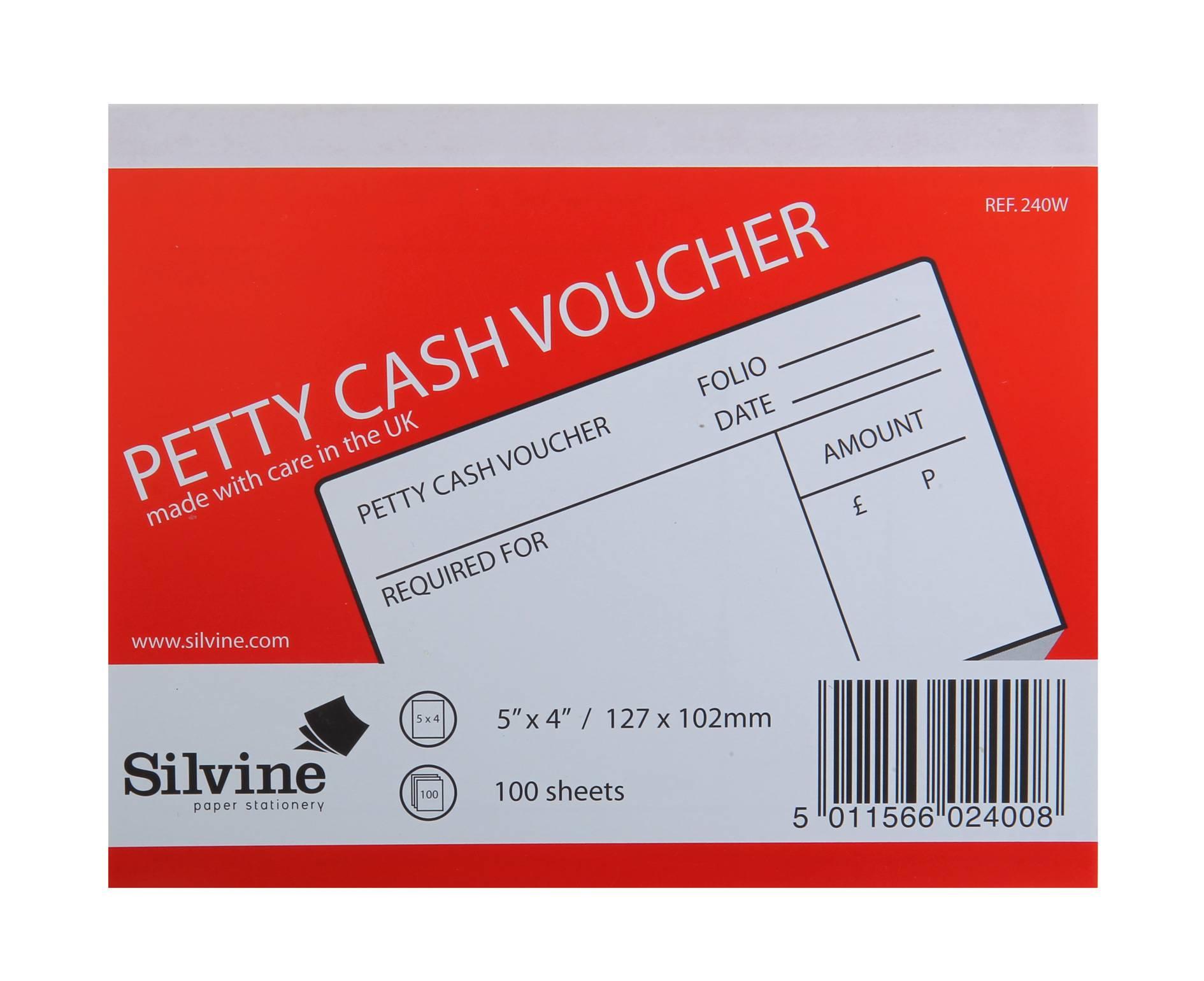 Silvine Petty Cash Pad 5x4in PK24