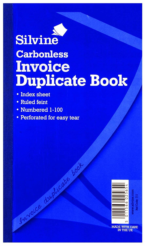 Silvine C/less Dup Inv Book Ruled PK6