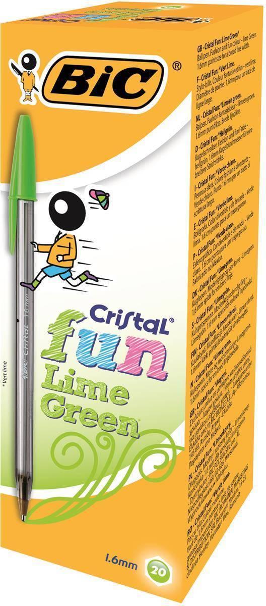 BIC Cristal Fun Ballpen 1.6mm Tip 0.6mm Line Lime Green Ref 927885 [Pack 20]