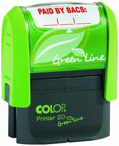 Colop Word Stamp Green Line Paid By Bacs