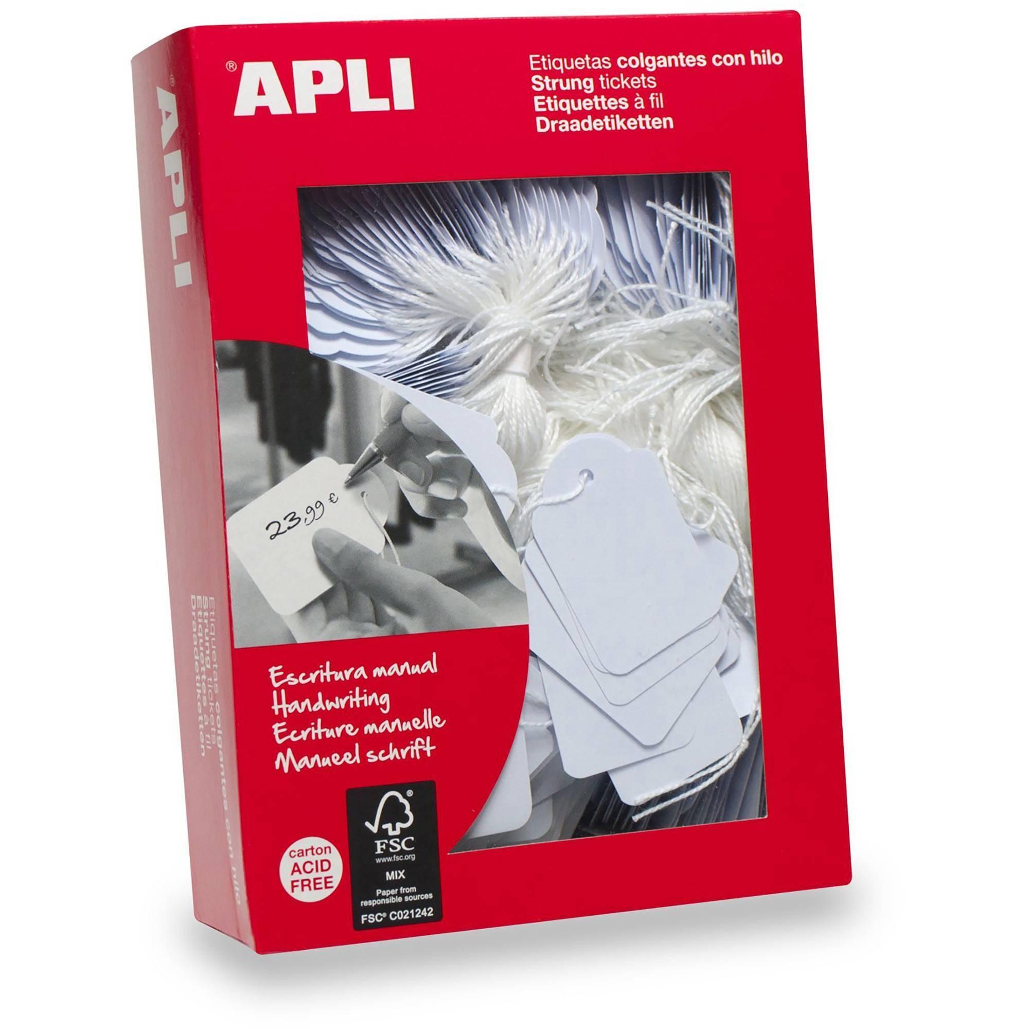 APLI Value Apli Strung Tickets 18x29 White (PK1000)