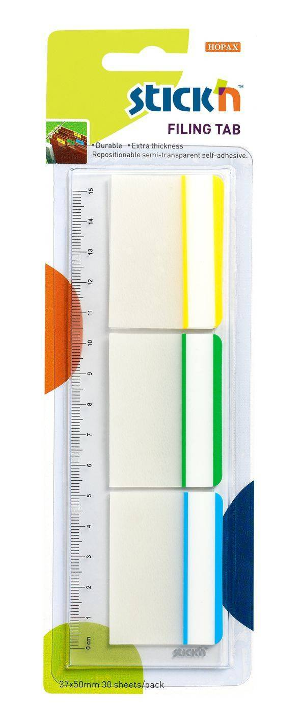STICK N Value Stickn Filing Flags 37x50mm 30 Tabs 3 Colours 21360