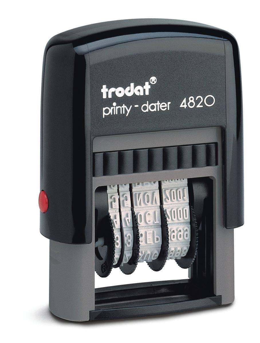 Trodat Printy 4820 Line Dater Stamp 4mm Refillable Black Ref 74000