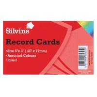 Silvine Record Cards 126x77mm Ruled Assorted Colours