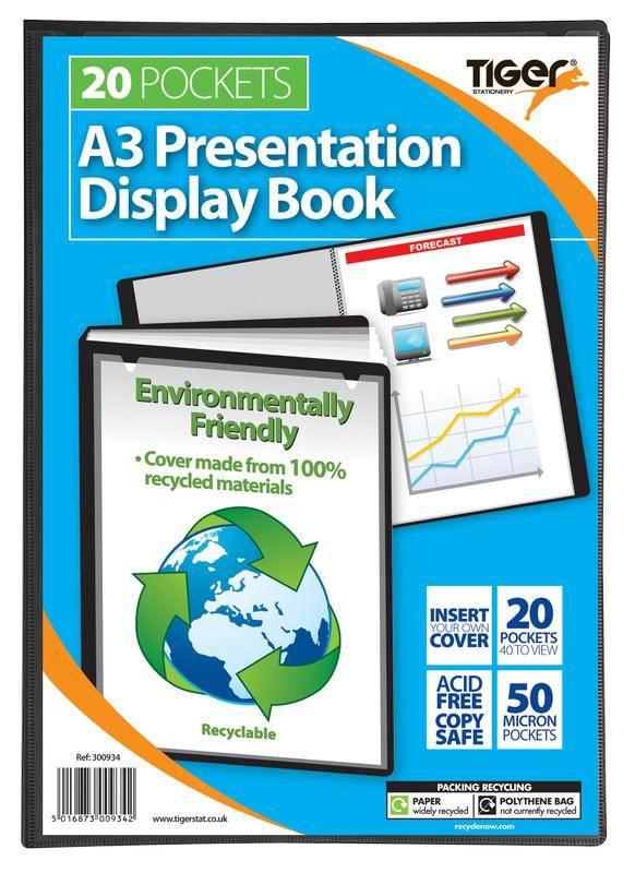 Tiger A3 Presentation Display Book Black 20 Pocket