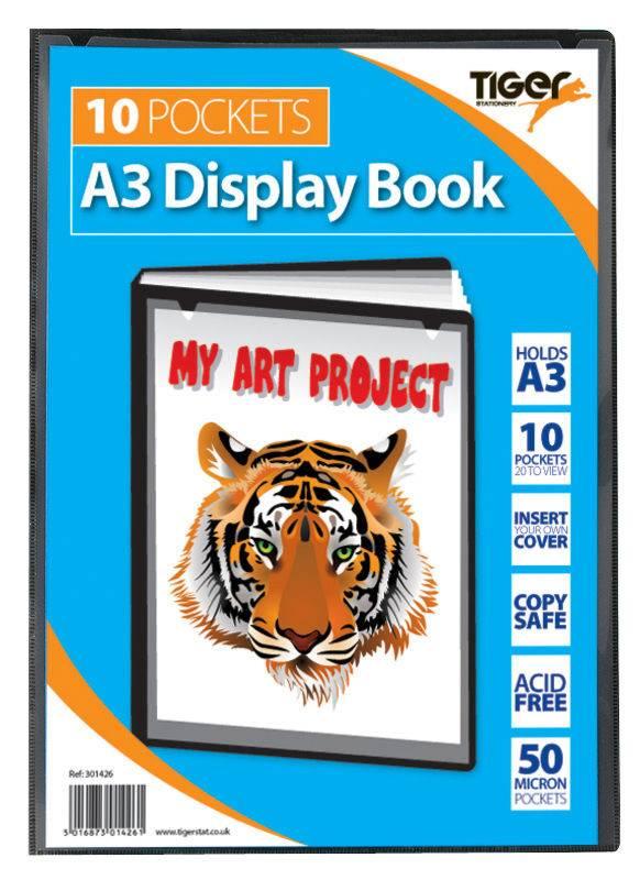 Tiger A3 Presentation Display Book Black 10 Pocket