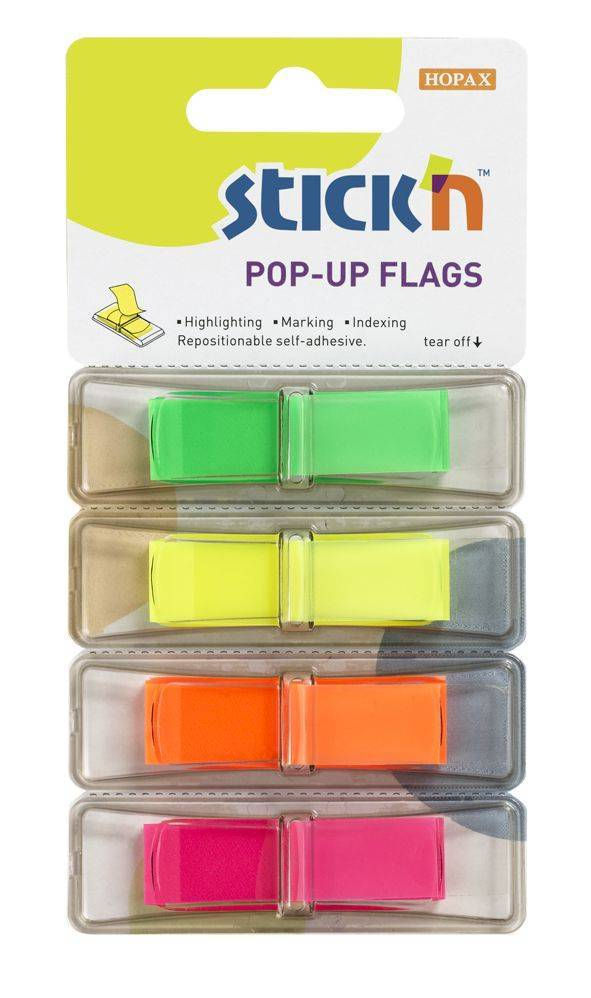 STICK N Value Stickn PopUp Flags 12mm 160 Tabs 4 Neon Colours 26017