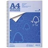 Silvine Notebook Twin Wirebound FSC Paper Perforated 160pp A4 Ref FSCTW80 [Pack 5]