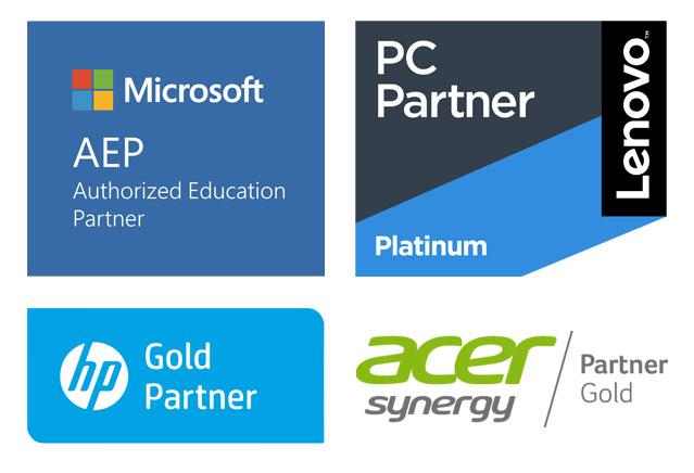 Microsoft Education Partner - HP Gold Partner - Lenovo Platinum Partner - Acer Gold Partner